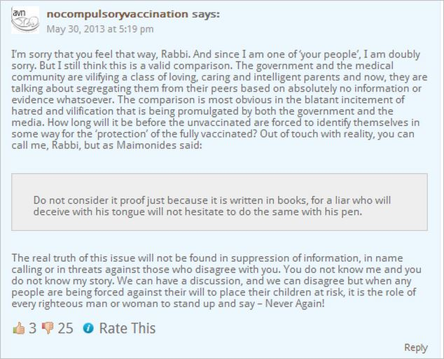 AVN Dorey reply to Rabbi blog comment