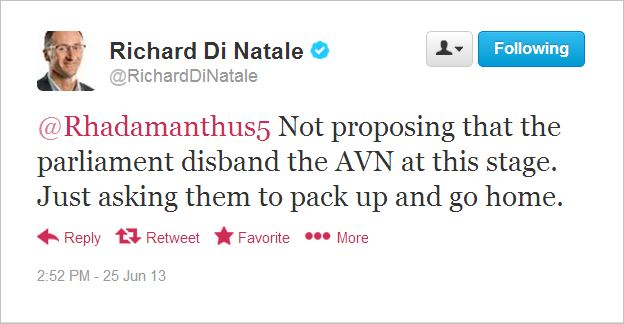 AVN Di Natale tweet not order to disband at this stage