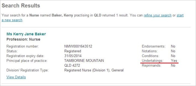 Baker AHPRA search result and registration number