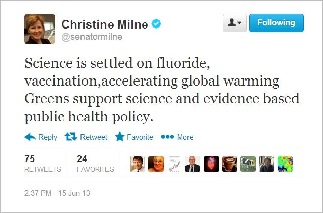 Milne tweet science is settled on vaccines etc June 15 2013