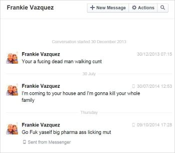 Vazquez 34 all PMs threats and abuse