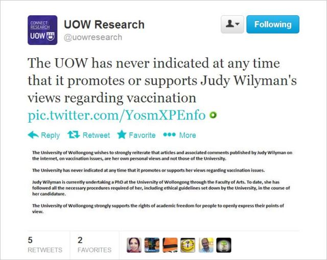Wilyman UoW tweet views are her own
