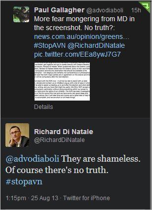 AVN Richard DiNatale tweet to Paul