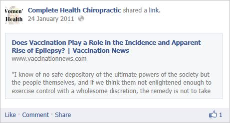 Complete Health Chiro 2 vaccines epilepsy