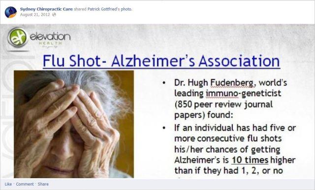 Sydney chiro 2 flu shot alzheimers
