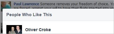 Oliver Croke 1 likes Lawrence's rape comment