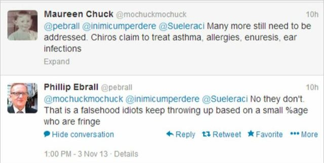Ebrall 25 chiro claims are falsehoods spread by idiots