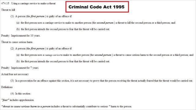 Criminal Code Act 1995 474.15 death threats