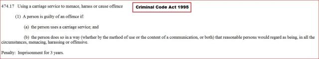Criminal Code Act 1995 474.17