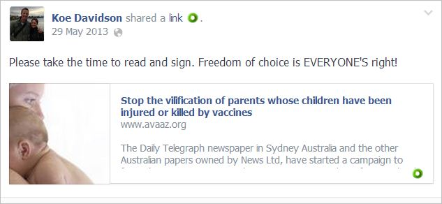 Davidson 1 Dorey's killed by vaccines petition