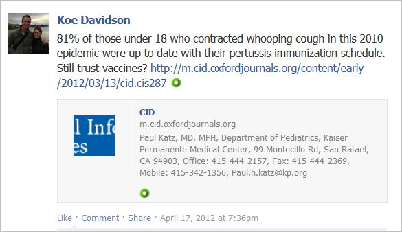Davidson 4 Fb page Pertussis still trust vaccines