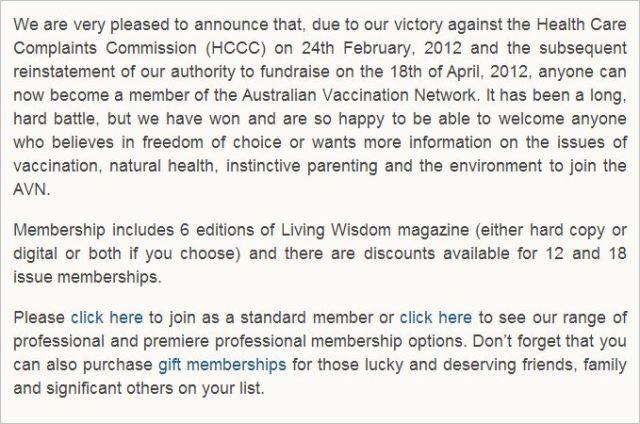 AVN 6752 Dorey April 30 2012 reinstatment of CFA pleased site