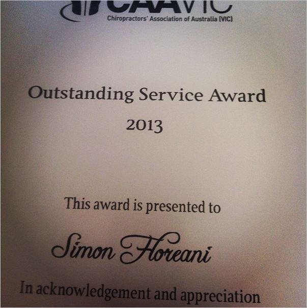 Floreani 4 oustanding service award CAA VIC