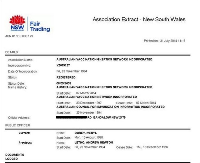 AVN 6878 Meryl Dorey still Public Officer as of July 2014 Fair Trading statement