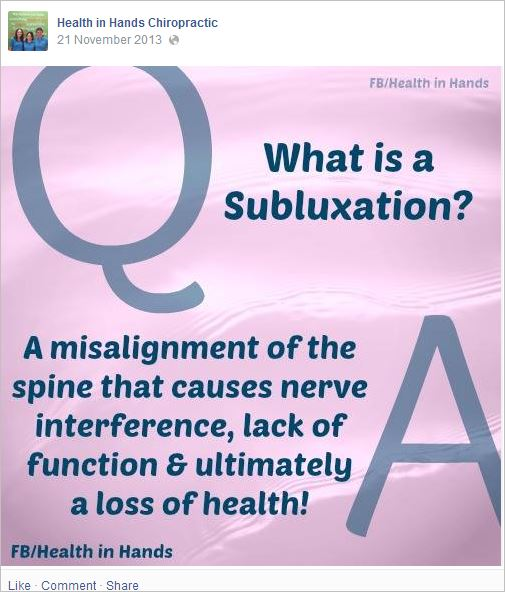 HIH 15 subluxations loss of health