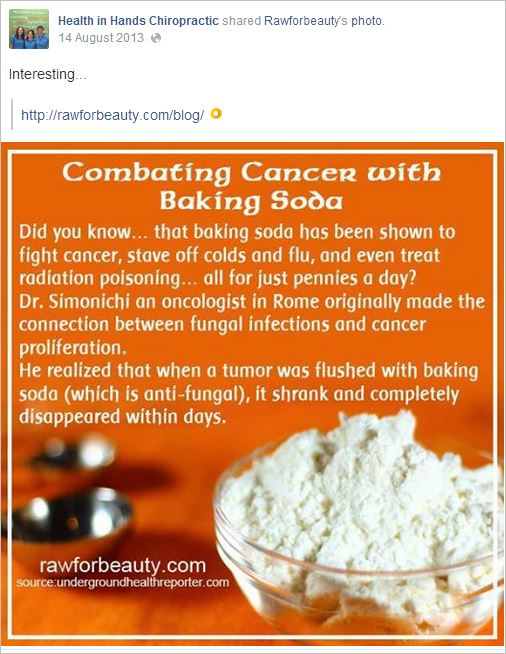HIH 9 cancer baking soda