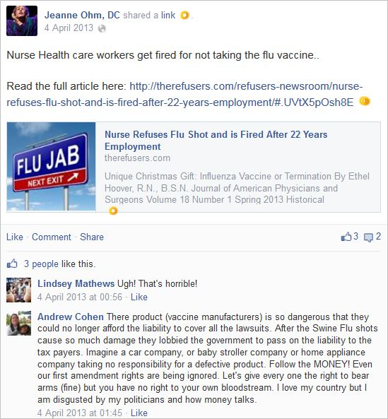Ohm 5 nurse fired flu shot The Refusers