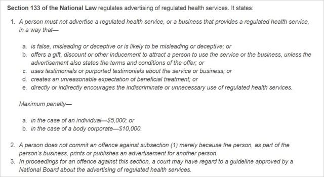 AHPRA 2 Prohibited advertising under the National Law