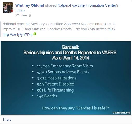 Ohlund 5 anti Gardasil lies