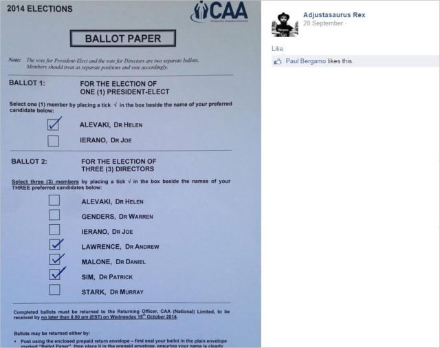 Shakes 101 CAA ballot paper