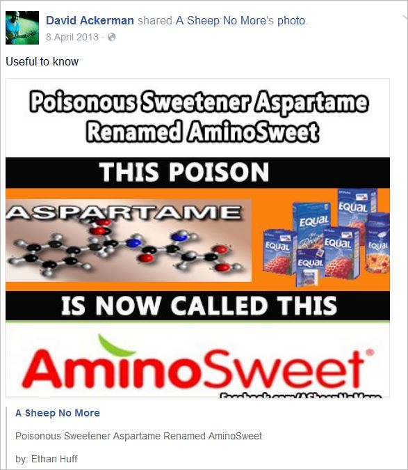 Ackerman 8 aspartame poison