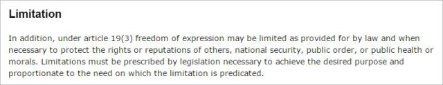 Free speech experession limitation Attorney General site