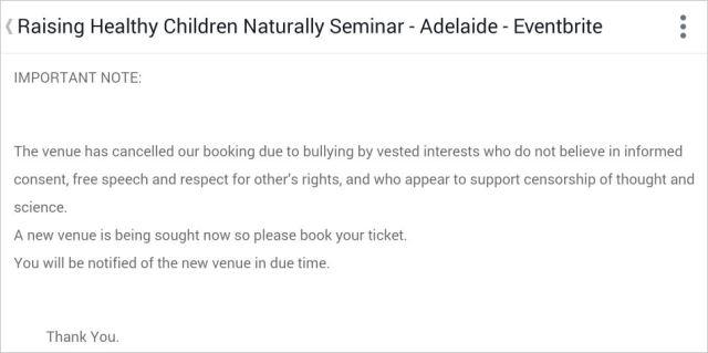 Messenger 34 Adelaide cancelled freedom bullies censor etc