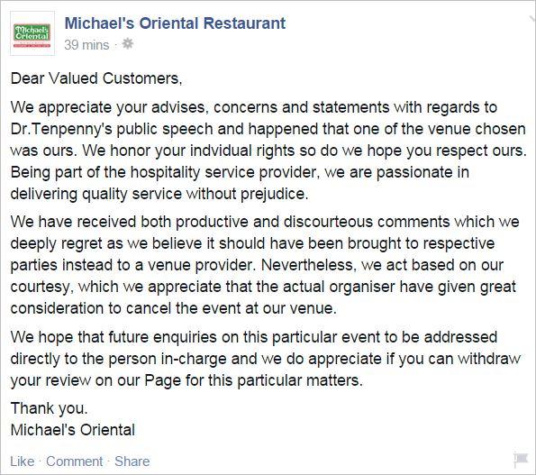 Tenpenny 47 Michael's cancel