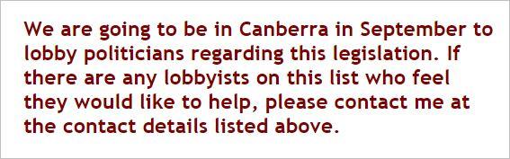 AVN 6975 Dorey Canberra lobby newsletter August 23 2011