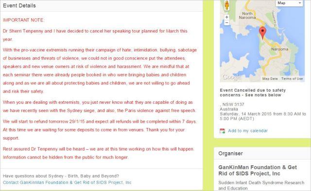 Messenger 52 Eventbrite GKM site terrorists Paris Sydney shootings etc