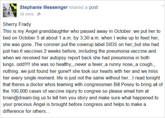 Messenger 79 vaccines cause SIDS