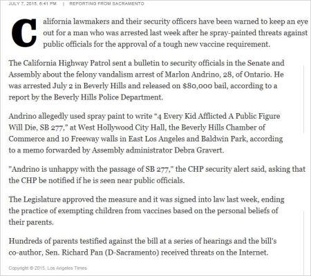 SB277 1 LA Times death threats