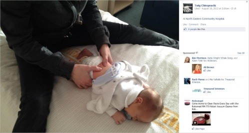 Langford 5 adjusting baby at North Eastern Community Hospital