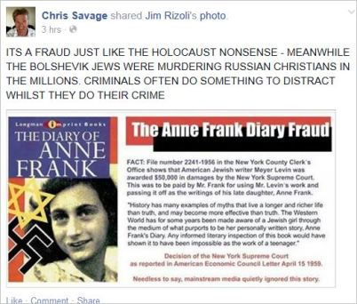 Savage 28 holocaust Anne Frank fraud