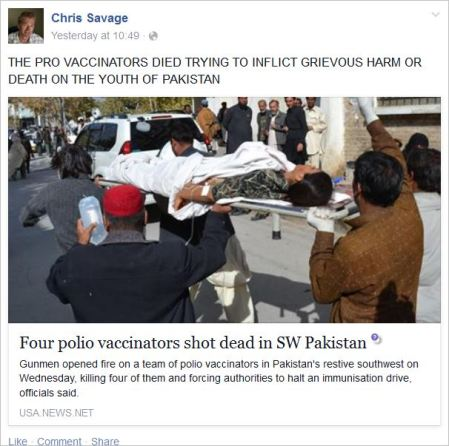 Savage 32 polio workers killed in self defence