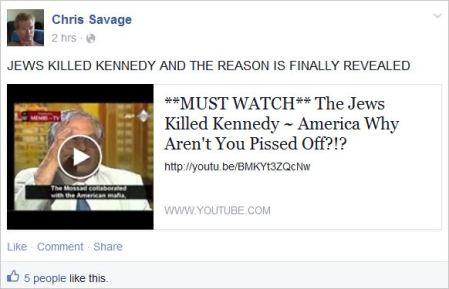 Savage 41 Jews killed Kennedy