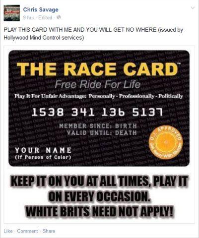 Savage 50 race card
