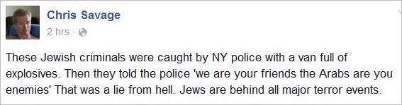 Savage 90 Jews behing all major terror events