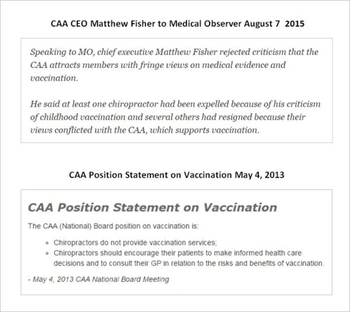 CAA 11 Fisher vaccines versus CAA statment 2013