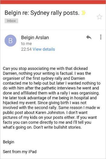 Belgin 70 email to RH Damien Poulsen dickhead denial njnp