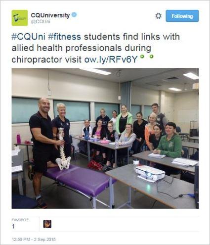 CQU 2 chiro visit fitness students tweet