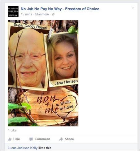 Brett Smith 89 likes Poulsens ad hom on Jane Protest3