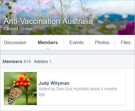 Wilyman 134 member of AntiVaccination Australia