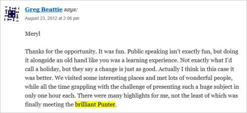 Wells 12 Beattie August 23 2012 brilliant Punter Dorey blog post comment