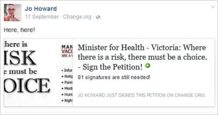 Howard 48 antivax Vic petition