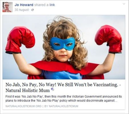 Howard 49 antivax blog post Nat Holistic Mum